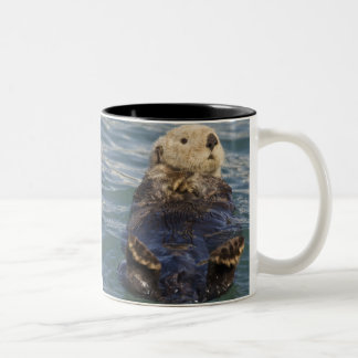 Sea otters play on icebergs at Surprise Inlet Two-Tone Coffee Mug