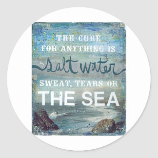 Sea Salt Water   Beach Ocean Classic Round Sticker