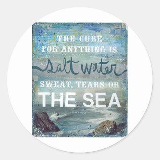 Sea Salt Water   Beach Ocean Round Sticker