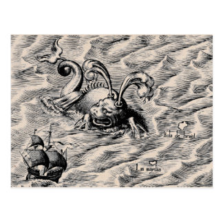 Sea Serpent and Sailing Ship Postcard