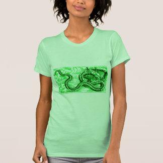 SEA SERPENT DEVOURING SHIP - in Green Print T-shirt
