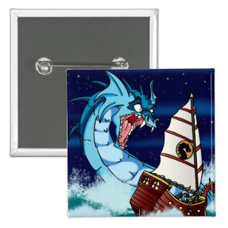 Sea Serpent Drama Pinback Buttons