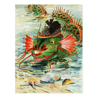 Sea Serpent wearing a Feather Hat Postcard