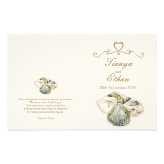 Sea shells watercolor art wedding programme
