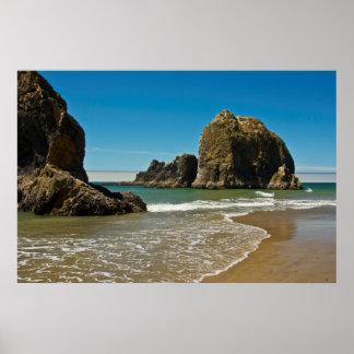 Sea Stacks, low tide, Oceanside, Oregon, USA Poster