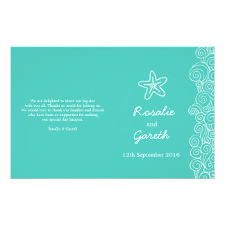 Sea star & swirls teal green wedding programme