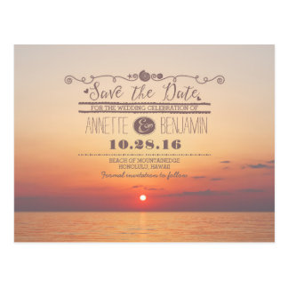 sea sunset romantic beach save the date postcard