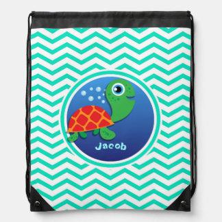 Sea Turtle; Aqua Green Chevron Drawstring Backpack