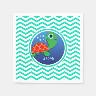 Sea Turtle; Aqua Green Chevron Disposable Serviettes
