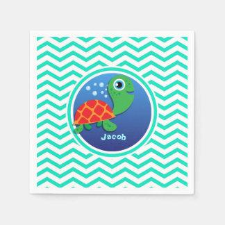 Sea Turtle; Aqua Green Chevron Disposable Serviettes