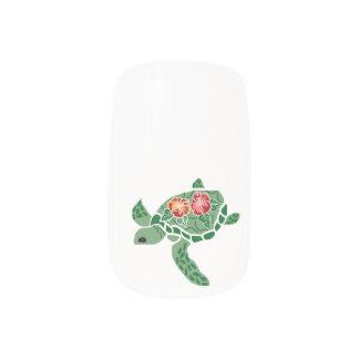 Sea Turtle Honu with Hibiscus Minx Nail Art