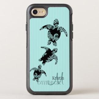 Sea Turtle Silhouette and Aqua Monogram OtterBox Symmetry iPhone 8/7 Case