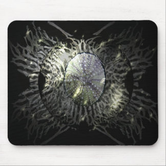 Sea Urchin Abstract on Black Mouse Pad