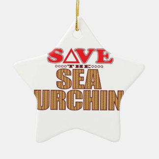 Sea Urchin Save Ceramic Star Decoration