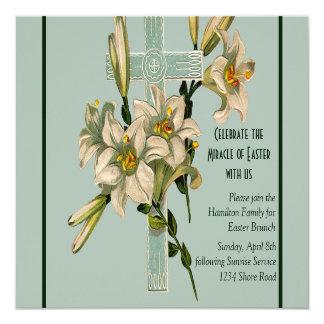 Seafoam Cross and Lilies Invitation
