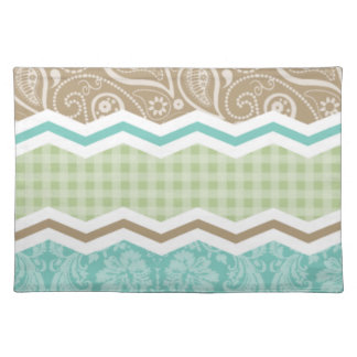Seafoam Green and Light Brown Country Patterns Placemat