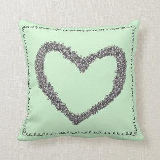 Seafoam Green Heart cushion Pillow