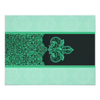 Seafoam Green Indian Floral Ornament Wedding RSVP 11 Cm X 14 Cm Invitation Card