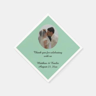 Seafoam Personalized Wedding Photo Napkins Paper Serviettes