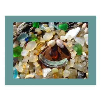 Seaglass Beach postacards Smiley Face Agate Rocks Postcard