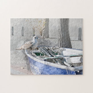 Seagull on Boat Watercolor Jigsaw Puzzle