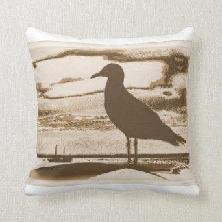 Seagull on the shore cushion