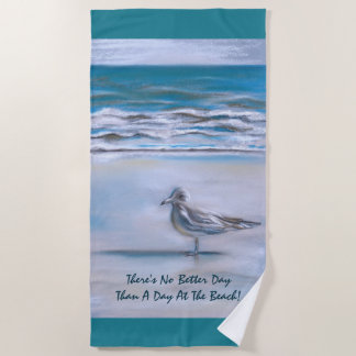 Seagull on the Shore Pastel Art Beach Towel