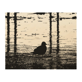 Seagull Under The Pier Wood Print
