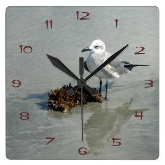 Seagull with Seaweed Wall Clock