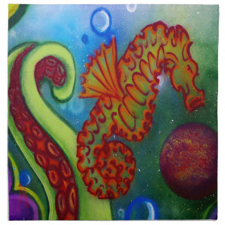 seahorse and octopus tentacle napkin