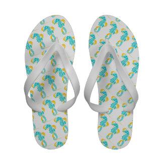 Seahorse and seaweed aqua, yellow sandals