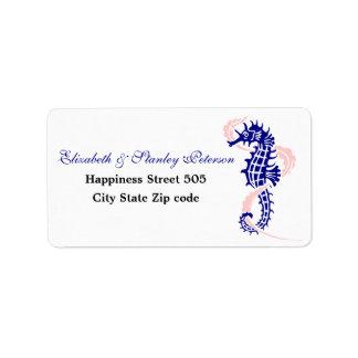 Seahorse and seaweed navy blue, pink wedding address label