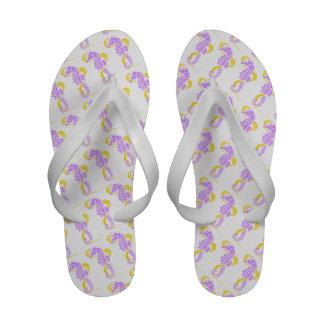 Seahorse and seaweed purple, yellow custom flip flops