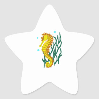 SEAHORSE AND SEAWEED STAR STICKER