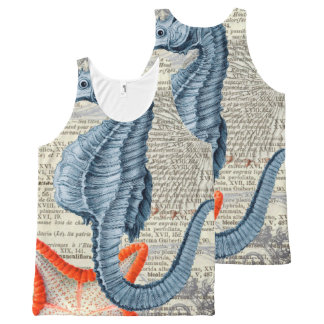 Seahorse  collage All-Over print tank top