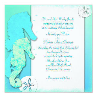 Seahorse Couple Ombre Aqua Wedding 13 Cm X 13 Cm Square Invitation Card