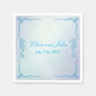 Seahorse Dusk Blue Custom Napkin Disposable Napkin