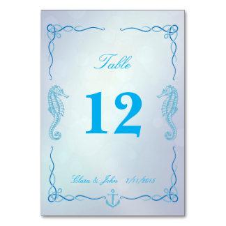 Seahorse Dusk Blue Table Number Card