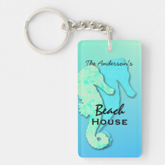 Seahorse Personalised Family Beach House Key Ring