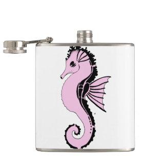 seahorse pink hip flask