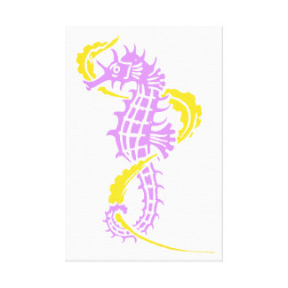 Seahorse purple, yellow and seaweed stretched canvas print