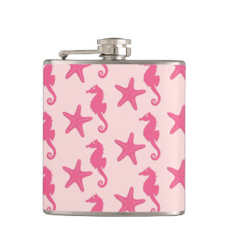 Seahorse & starfish - coral pink hip flask