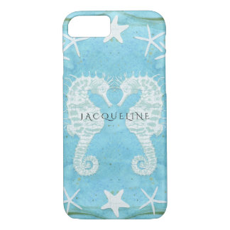 Seahorse Starfish Ocean Beach Sea Watercolor Blue iPhone 8/7 Case