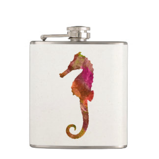 Seahorse Watercolor Silhouette Sea Horse Pink Hip Flask