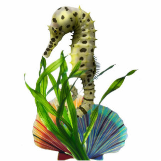 Seahorse with Seaweed Pin Photo Sculpture Badge