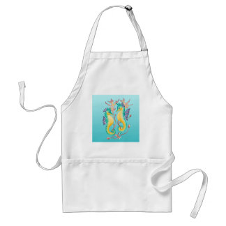 seahorses teal stainglass standard apron