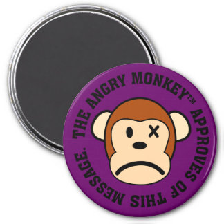 Seal of Approval: Message endorsed by Angry Monkey 7.5 Cm Round Magnet