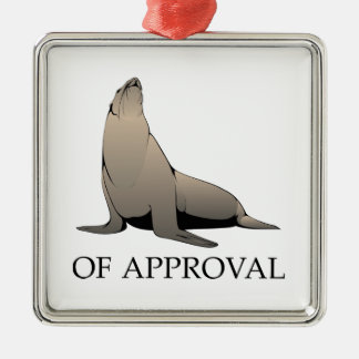 Seal Of Approval Silver-Colored Square Decoration