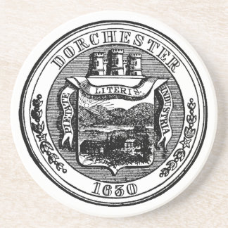 Seal of Dorchester Massachusetts, black Coaster