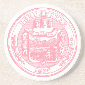 Seal of Dorchester Massachusetts, pink Coaster